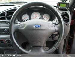 Ford ensign on steering wheel